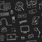 Нарисованная рукой картина онлайн образования doodle безшовная Стоковое фото RF