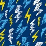 Нарисованная рукой картина удара молнии безшовная черная белизна Текстура дизайна моды для ткани также вектор иллюстрации притяжк иллюстрация вектора