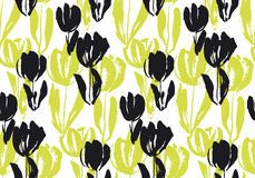 Нарисованная рукой картина цветка тюльпана безшовная Стоковые Фото