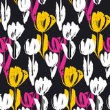 Нарисованная рукой картина цветка тюльпана безшовная Стоковое фото RF