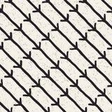 Нарисованная рукой картина черно-белого конспекта чернил безшовная текстура вектора стильная Monochrome геометрические линии кист Стоковая Фотография