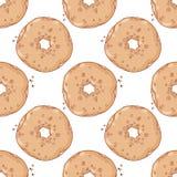 Нарисованная рукой картина donuts безшовная сладостно иллюстрация вектора