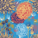 Нарисованная рукой картина vintaget флористическая безшовная иллюстрация штока