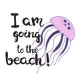 Нарисованная рукой карточка литерности - я иду к пляжу! Стоковое Изображение