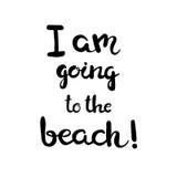 Нарисованная рукой карточка литерности - я иду к пляжу! Стоковые Фотографии RF
