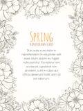 Нарисованная рукой карточка приглашения цветка Стоковое фото RF
