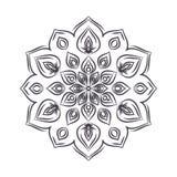 Нарисованная рукой мандала цветка для книжка-раскраски Черно-белое eth Стоковые Изображения