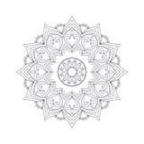 Нарисованная рукой мандала цветка для книжка-раскраски Черно-белое eth Стоковое Изображение