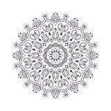 Нарисованная рукой мандала цветка для книжка-раскраски Черно-белое eth иллюстрация вектора