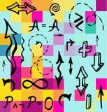 Нарисованная рукой математически иллюстрация вектора элементов Стоковые Фото
