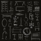 Нарисованная рукой мебель бытового устройства Стоковая Фотография