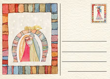 Нарисованная рукой назад открытка рождества Стоковая Фотография
