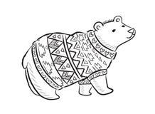 Нарисованная рукой печать плана с полярным медведем в свитере зимы иллюстрация штока
