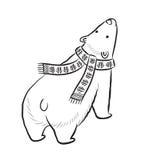 Нарисованная рукой печать плана с полярным медведем в шарфе зимы бесплатная иллюстрация
