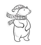 Нарисованная рукой печать плана с полярным медведем в шарфе и шляпе зимы иллюстрация вектора