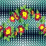 Нарисованная рукой печать роз цветка branche тропическая винтажная безшовная, Стоковая Фотография