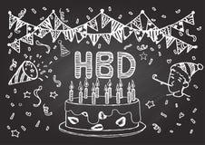 Нарисованная рукой поздравительая открытка ко дню рождения с днем рождений на доске иллюстрация штока