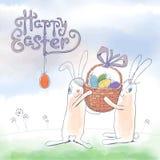 Нарисованная рукой поздравительная открытка пасхи в формате вектора иллюстрация штока