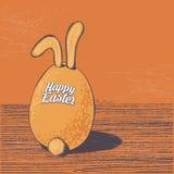 Нарисованная рукой поздравительная открытка пасхи в формате вектора зайчик пасха иллюстрация вектора