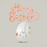 Нарисованная рукой поздравительная открытка пасхи в формате вектора зайчик пасха бесплатная иллюстрация