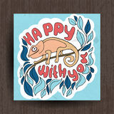 Нарисованная рукой поздравительная открытка с милыми животными Hameleon Стоковая Фотография