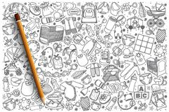 Нарисованная рукой предпосылка магазина младенца установленная Стоковые Фото