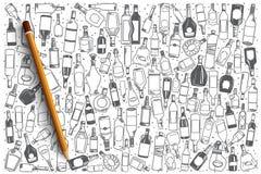 Нарисованная рукой предпосылка спирта установленная Стоковое Изображение