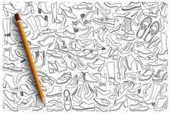 Нарисованная рукой предпосылка doodle ботинок установленная Стоковые Изображения