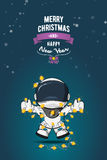 Нарисованная рукой плоская иллюстрация вектора Астронавт шаржа в костюме пилота с гирляндой светов рождества карточка 2007 привет Стоковые Фото