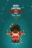 Нарисованная рукой плоская иллюстрация вектора Астронавт шаржа в костюме пилота с гирляндой светов рождества карточка 2007 привет Стоковые Изображения