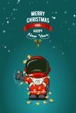 Нарисованная рукой плоская иллюстрация вектора Астронавт шаржа в костюме пилота с гирляндой светов рождества карточка 2007 привет Стоковое Изображение RF
