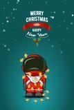 Нарисованная рукой плоская иллюстрация вектора Астронавт шаржа в костюме пилота с гирляндой светов рождества карточка 2007 привет Стоковые Фотографии RF