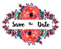 Нарисованная рукой рамка вектора цветков акварели С красным смычком Элемент для приглашений дизайна, знамен, поздравительной откр Стоковые Фото
