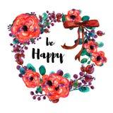 Нарисованная рукой рамка вектора цветков акварели С красным смычком Элемент для приглашений дизайна, знамен, поздравительной откр Стоковое Изображение