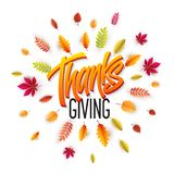 Нарисованная рукой счастливая предпосылка официальный праздник в США в память первых колонистов Массачусетса Дайте спасибо также  Иллюстрация вектора