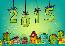 Нарисованная рукой счастливая концепция 2015 Нового Года Стоковые Изображения RF