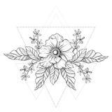 Нарисованная рукой татуировка boho Цветок Blackwork в треугольниках fr битника иллюстрация вектора