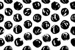 Нарисованная рукой текстура картины повторяя безшовный monochrome Черно-белые пятна Покрасьте мазки Вскользь текстура точки польк Стоковое Изображение