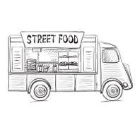 Нарисованная рукой тележка еды Стоковые Изображения RF