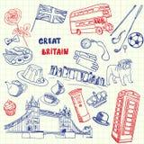 Нарисованная ручка Великобритании Doodles собрание вектора иллюстрация вектора