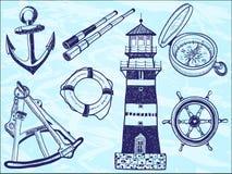 нарисованная собранием иллюстрация руки морская иллюстрация вектора