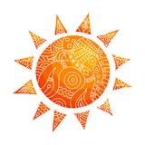 Нарисованное вручную абстрактное солнце Иллюстрация doodle вектора бесплатная иллюстрация