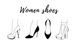 Нарисованное вручную собрание моды ботинка женщины иллюстрация штока