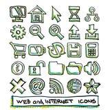 25 нарисованное руками собрание значков сети и интернета Стоковая Фотография