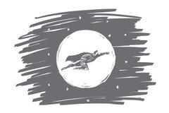 Нарисованное рукой летание супергероя перед луной Стоковое Изображение