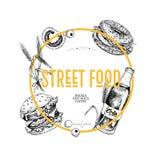 Нарисованное рукой знамя фаст-фуда Рогулька еды улицы творческая Бургер, сода, томат, бейгл, бочонки пшеницы и оливки выгравирова Стоковое Изображение RF