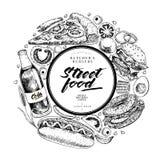Нарисованное рукой знамя фаст-фуда Хлебопекарня еды улицы Бургер, хот-дог, французские фраи, пицца, кофе, сода, бейгл, донут Стоковые Фото