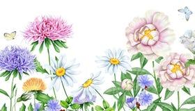 Нарисованное рукой изображение акварели красивых цветков Стоковое Изображение RF