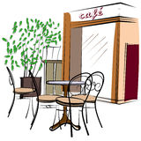 Нарисованное рукой кафе Парижа Стоковое Фото