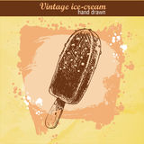 Нарисованное рукой мороженое шоколада стиля эскиза Иллюстрация вектора